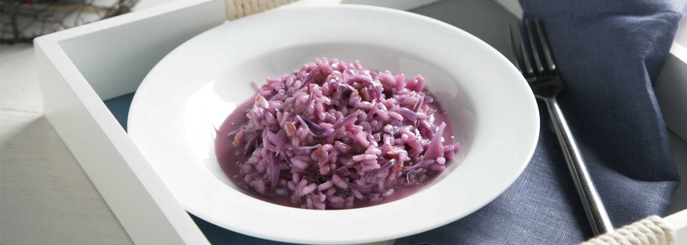 Receta de risotto de lombarda y panceta